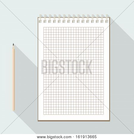 to left handed top view of flat vector pencil near notebook with blank checkered white sheet on background with long shadow effect
