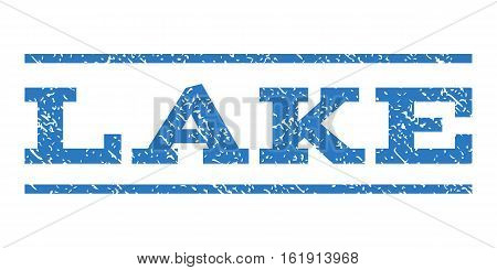 Lake watermark stamp. Text tag between horizontal parallel lines with grunge design style. Rubber seal stamp with dust texture. Vector smooth blue color ink imprint on a white background.