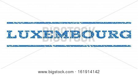 Luxembourg watermark stamp. Text tag between horizontal parallel lines with grunge design style. Rubber seal stamp with unclean texture. Vector smooth blue color ink imprint on a white background.
