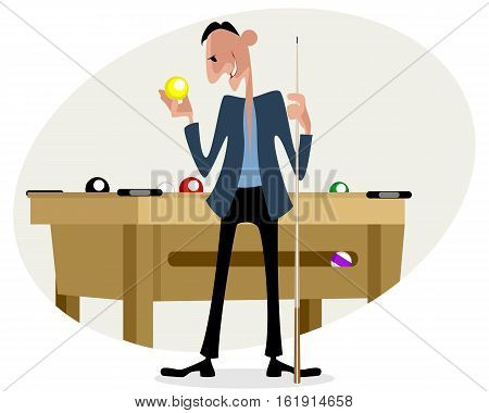 Vector illustration of a billiard player with cue