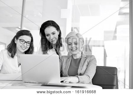 Businesswomen using laptop at table in office