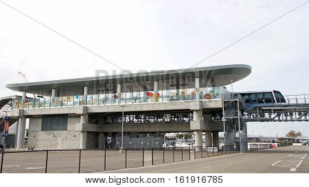 Oakland CA - December 12 2016: The San Francisco Bay Area Rapid Transit train referred to as BART has new service to Oakland International Airport from the Coliseum BART station in Oakland.