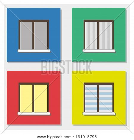 Four windows with colored walls flat design vector illustration