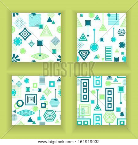 Set Abstract seamless patterns from geometric form in postmodern Memphis Style blue green on white for wallpaper or package or for clothes or for creative design abstract city in fresh colors