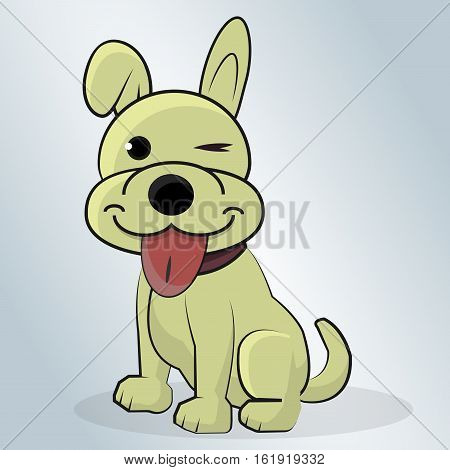 Beautiful Happy Dog cartoon vector illustration on a blue background.