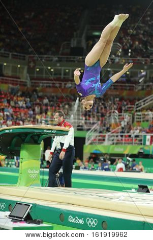 RIO DE JANEIRO, BRAZIL - AUGUST 11, 2016: Olympic champion Aliya Mustafina of Russia practicing a vault before women's all-around gymnastics at Rio 2016 Olympic Games