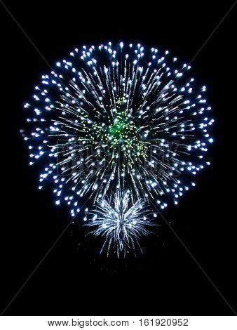 New Year celebration fireworks. Fireworks light up the sky with dazzling display