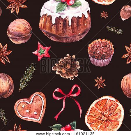 Watercolor Christmas seamless pattern with traditional pudding, gingerbread cookies, fir branches and orange slices, New Year hand painted decoration, Holiday design elements on black