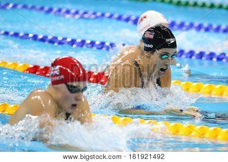 RIO DE JANEIRO, BRAZIL - AUGUST 8, 2016: Olympic champion Madeline Dirado of United States swims the Women's 200m Individual Medley Heat 3 of Rio 2016 Olympic Games at Olympic Aquatic Stadium