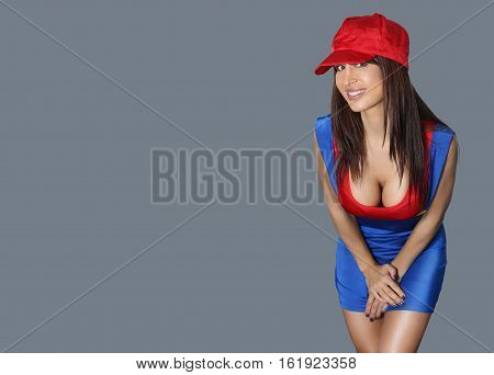 Large breasted woman in sexy plumber costume