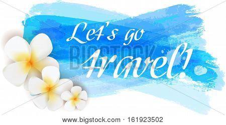 Travel grunge blue background with frangipani flowers.