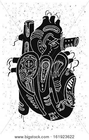 Hand drawn illustration of a mechanic steam punk heart