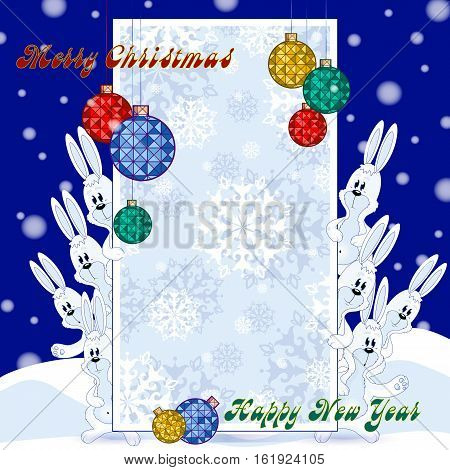 Greeting card for the winter holidays. Shape for the congratulatory text because of which look out funny hares. Banner with gentle background color with snowflakes and Christmas balls. Cartoon style.