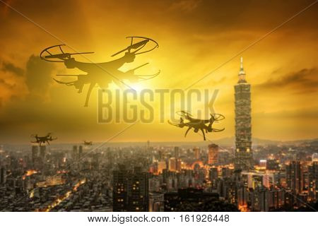 silhouette of drone flight in the city, Taipei