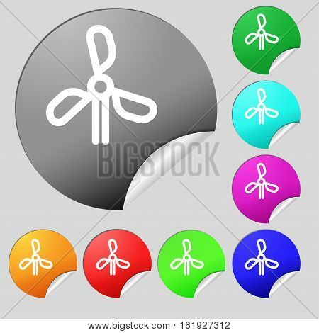 Wind Turbine Icon Sign. Set Of Eight Multi Colored Round Buttons, Stickers. Vector
