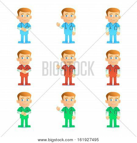 Paramedic. Set of various poses and various collor. Isolated on white. Vector illustration.