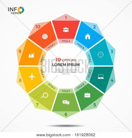 Infographic Template With 10 Options Circle Chart
