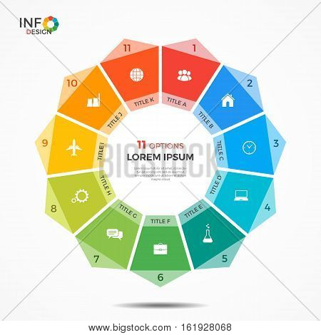 Infographic Template With 11 Options Circle Chart