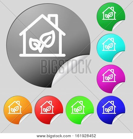 Bio Houses Icon Sign. Set Of Eight Multi Colored Round Buttons, Stickers. Vector