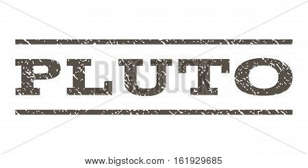 Pluto watermark stamp. Text tag between horizontal parallel lines with grunge design style. Rubber seal stamp with dust texture. Vector grey color ink imprint on a white background.