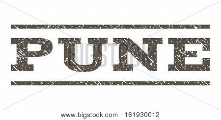 Pune watermark stamp. Text tag between horizontal parallel lines with grunge design style. Rubber seal stamp with scratched texture. Vector grey color ink imprint on a white background.