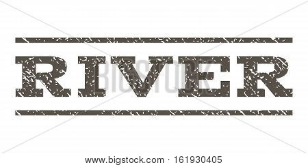 River watermark stamp. Text caption between horizontal parallel lines with grunge design style. Rubber seal stamp with unclean texture. Vector grey color ink imprint on a white background.