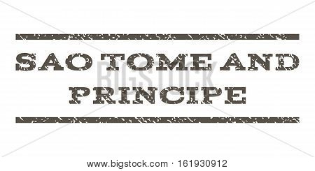 Sao Tome and Principe watermark stamp. Text tag between horizontal parallel lines with grunge design style. Rubber seal stamp with dirty texture. Vector grey color ink imprint on a white background.