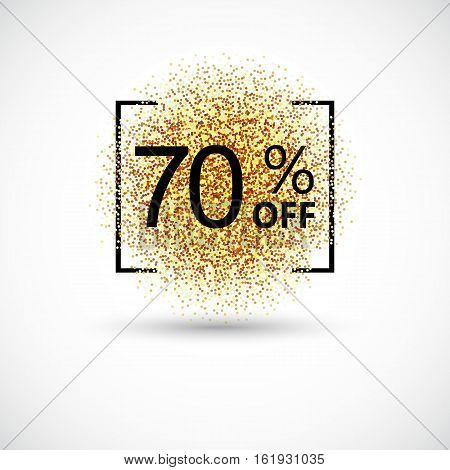 Gold sale 70 percent. Gold sale 70 percent on gold background. Gold sale background for flyer, poster, shopping, discount, marketing, selling, banner, web header