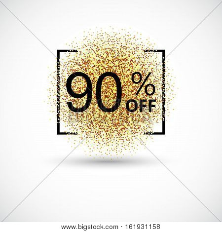 Gold big sale background in frame. Gold sale background for flyer, poster, shopping, for sale sign, discount, marketing, selling, banner, web, header Abstract golden background