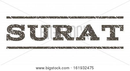 Surat watermark stamp. Text tag between horizontal parallel lines with grunge design style. Rubber seal stamp with dust texture. Vector grey color ink imprint on a white background.
