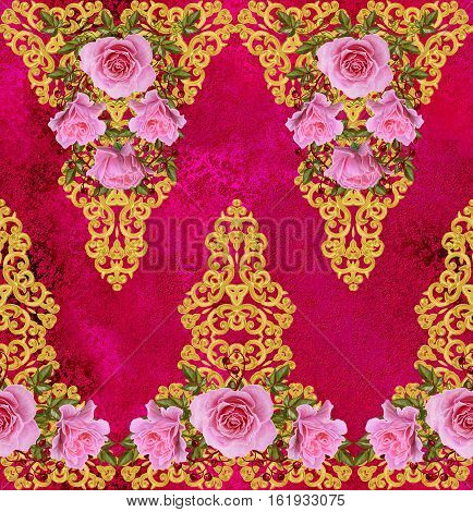 Pattern seamless floral border.Garland of flowers. Beautiful bright pink rose buds leaves rough cloth canvas. Golden curls shiny tracery weave. Vintage old background.