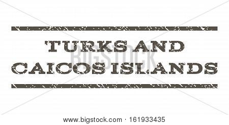 Turks and Caicos Islands watermark stamp. Text caption between horizontal parallel lines with grunge design style. Rubber seal stamp with dust texture.