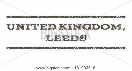 United Kingdom, Leeds watermark stamp. Text caption between horizontal parallel lines with grunge design style. Rubber seal stamp with unclean texture.