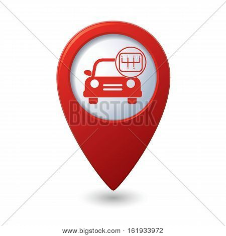 Car service. Car with shift icon on the map pointer