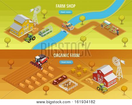 Farm isometric horizontal banners with barn agricultural vehicles animals beehives harvest farmer and grocery shop vector illustration