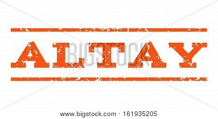 Altay watermark stamp. Text tag between horizontal parallel lines with grunge design style. Rubber seal stamp with unclean texture. Vector orange color ink imprint on a white background.
