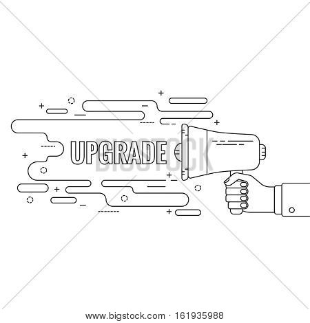 Hand holding a megaphone. Icon  loudspeaker with linear banner. Notification through the speaker, advertisement bullhorn. Vector. Upgrade