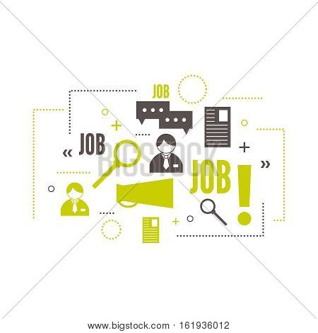 Recruitment. Concept search better candidate for open position. We are hiring, hr. Job offer. Wanted employee, staff. Vector linear icon.