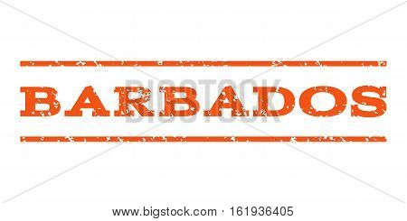 Barbados watermark stamp. Text caption between horizontal parallel lines with grunge design style. Rubber seal stamp with unclean texture. Vector orange color ink imprint on a white background.