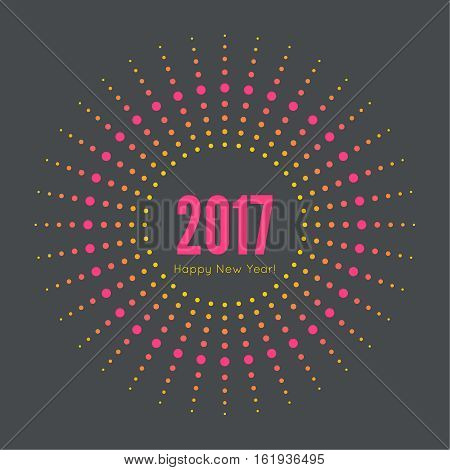 Round banner with rays. happy new year 2017. Decoration collection. frames, vintage labels. for greeting card, flyer, invitation, poster, brochure banner calendar Christmas Meeting events
