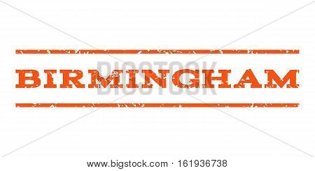 Birmingham watermark stamp. Text caption between horizontal parallel lines with grunge design style. Rubber seal stamp with scratched texture. Vector orange color ink imprint on a white background.