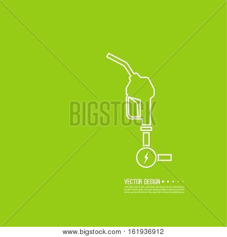 Gasoline pump nozzle sign. Gas station icon. Electro refill symbol. Vector. Fuel pump petrol station. drop of gasoline with lightning. linear design.  refuel service.