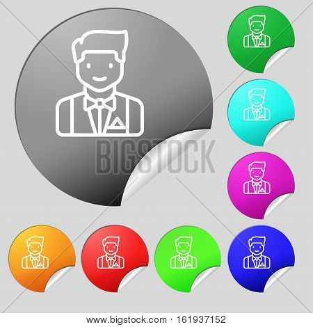 Butler Icon Sign. Set Of Eight Multi Colored Round Buttons, Stickers. Vector