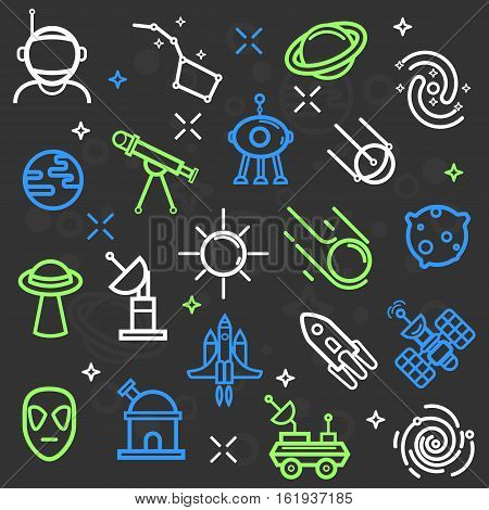 Space set of line icons. Cosmos and Universe symbols: cosmic technology, rocket or spaceship, ufo and alien, astronaut and star, Saturn and Earth planets, meteor or comet. Line design illustrations