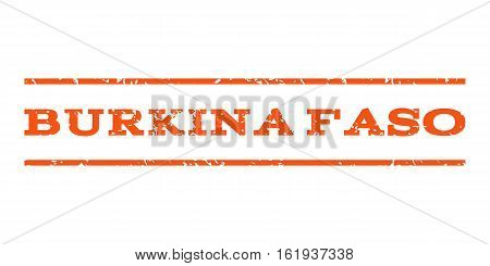 Burkina Faso watermark stamp. Text tag between horizontal parallel lines with grunge design style. Rubber seal stamp with dust texture. Vector orange color ink imprint on a white background.