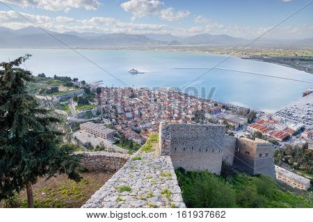View of Nafplio town from Palamidi fortress, Peloponnese, Greece