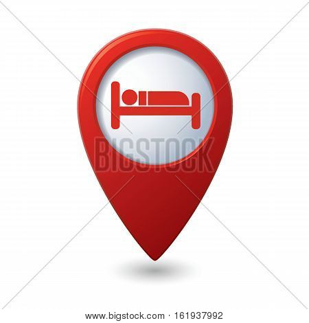 Hotel or hostel icon on the map pointer
