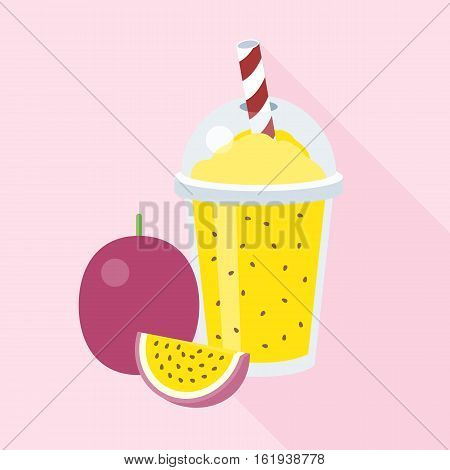Passion smoothie in plastic glass, flat design with long shadow