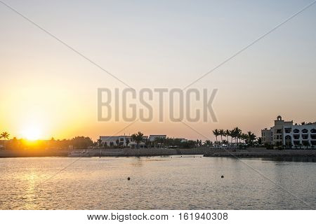 Amazing Sunset in Sultanate Oman at Souly Bay harbour and Hotels Oceanside