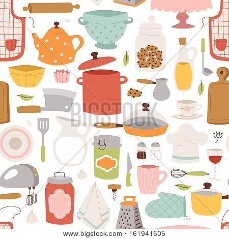 Kitchenware seamless pattern with kitchen tools. Cook accessories vintage cup design vector illustration. Kitchen utensils household chef plate or cafe tool accessory.